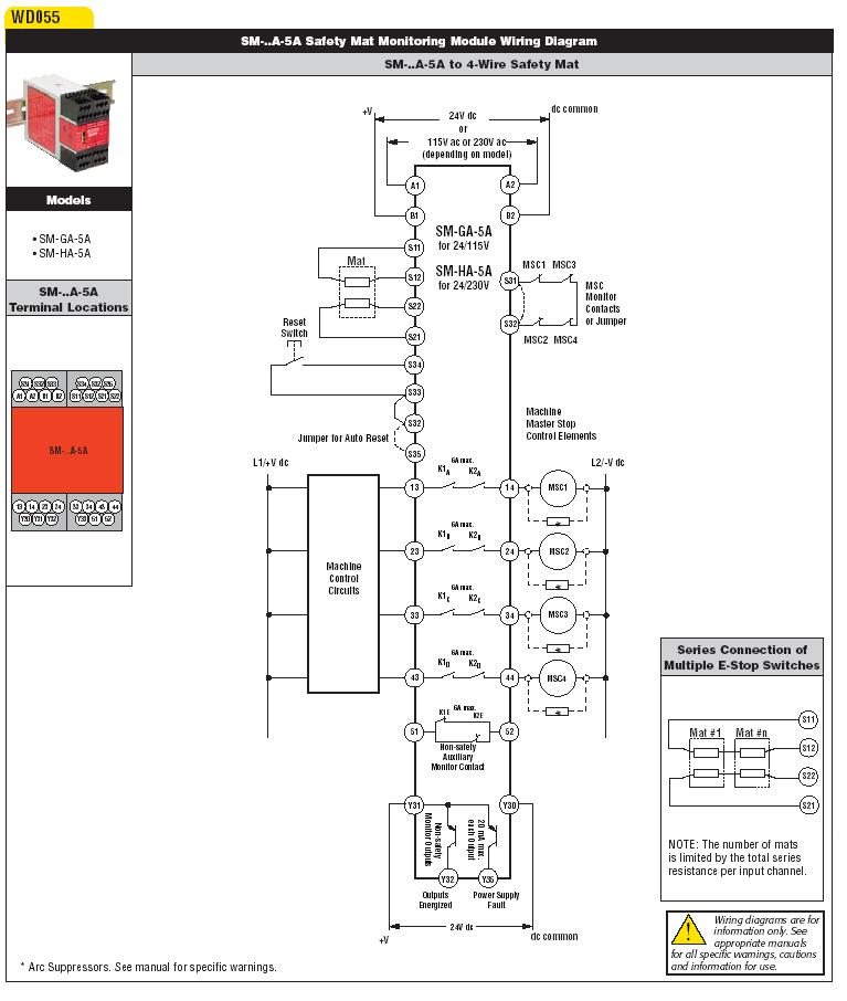 safety mat monitoring safety relays - wiring diagram
